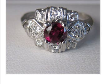 Antique Art Deco Platinum Ruby Diamond Engagement Ring
