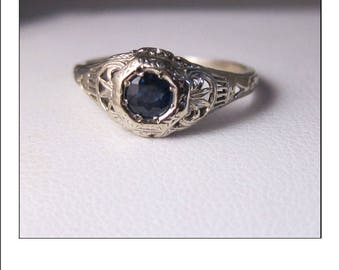 Antique Art Deco 14k  Sapphire Engraved Engagement Ring