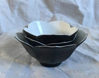 Black Japanese Lotus Bowls (set of 3)