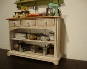 dollhouse miniature furniture in mahogany wood decorated shabby chic