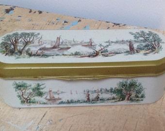 Vintage Dutch  'Douwe Egberts' Pickwick tea tin tea spoon box