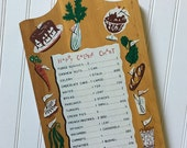 Vintage Kitsch Happy Calorie Chart Kitchen Cutting Board, 1960s Midcentury Funny Wall Art, Wooden Plaque, Dieting Decor