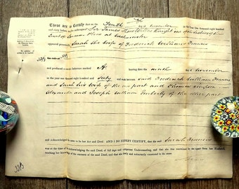 English Certificate of acknowledgement of a deed by a married woman, dated 1860, on parchment
