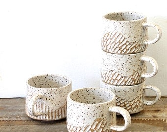 Stoneware Pottery Mug, Carved Coffee Cup, Textured Pottery Mug, Ceramic Coffee Mug,