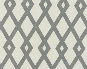 Two 20 x 20  Designer Decorative  Lumbar Pillow Covers - Fret Trellis - Grey and White