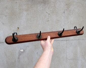 Antique Oak Wooden Coat Hooks / Rack