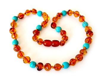BALTIC AMBER Teething Necklace for Baby or Children with CERTIFICATE of Authenticity