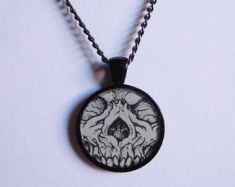 Skull face 1 inch black resin pendant necklace; halloween; skeleton; goth; gothic