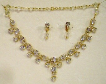Vintage Rhinestone Crystal Heart Necklace & Earring Set