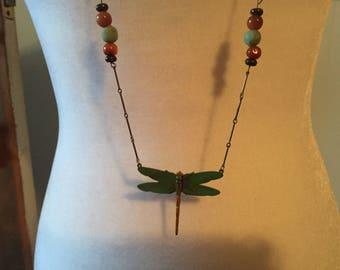 Victorian Long Verda Gris Dragonfly Carnelian Glass Brass Bar link Gardener Nature Lover Necklace