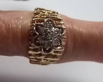 Diamond Cigar Band Ring 12.8mm wide .67Ctw Yellow Gold 14K 6.6hm Size 8