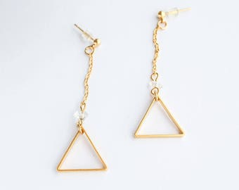 Gold Triangle Earrings | COLOR OPTIONS | Geometric Jewlery Delicate Earrings Gift Anniversary Womens Birthday Bridesmaid Good for the Soule