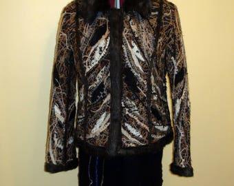 Beautiful felted faux fur wool winter jacket dark brown white beige