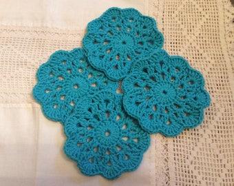 Handmade crochet turquoise coasters set of 4, aqua coasters, blue coasters, porta vasos