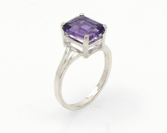 Amethyst Sterling Silver Ring Purple Amethyst Solitaire Ring Handmade Amethyst Jewelry