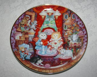 "Vintage Franklin Mint Heirloom "" Whisker Wuv "" by Bill Bell Cat Valentine's Day Love, China Plate"