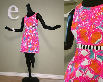 MOD Lilly Pulitzer Mini Dress Twiggy Carnaby Street Style Space Age Hippie Boho Sexy Cut Out Cutout Midriff Hot Neon Pink Psychedelic Print
