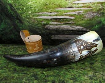 Viking Drinking Horn: Geri & Freki, Odin's Wolves, Viking Horn Cup, Viking Horn, Horn Cup, Heathen Horn Cup, Heathen Drinking Horn