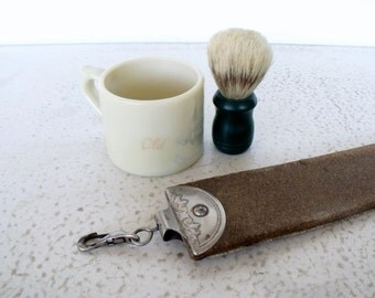 Antique Razor Strop / Shaving Mug / Brush Straight Edge Blade Sharpener Barber Shop Vintage Strap