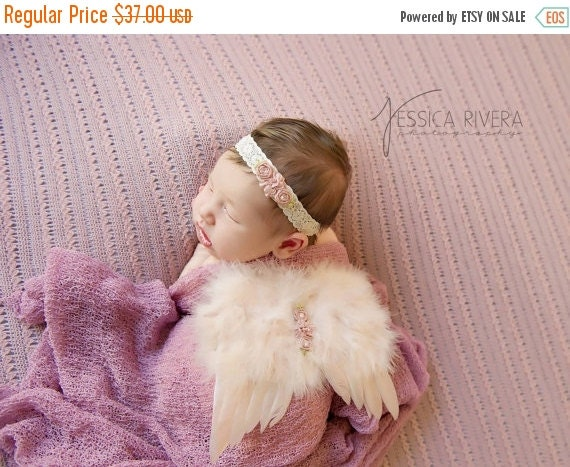 20% OFF SALE 3 PIECE Set - Blush Angel Baby Wings, Vintage Lace Headband & Mauve Swaddle Wrap for newborns, photo shoots, photographers, bab