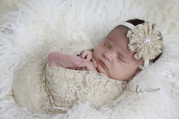 Tan stretch lace swaddle wrap AND/OR matching tan lace flower headband for newborn photo shoots, stretch lace by Lil Miss Sweet Pea