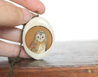 Little yellow owl necklace