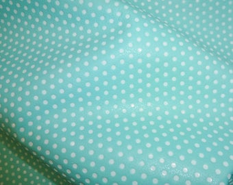 "Leather 8""x10"" Small WHITE Polka Dots on ROBIN Egg DIVINE top grain Cowhide 4 dots per inch 2-2.5 oz / 0.8-1 mm PeggySueAlso™ E3090-14"