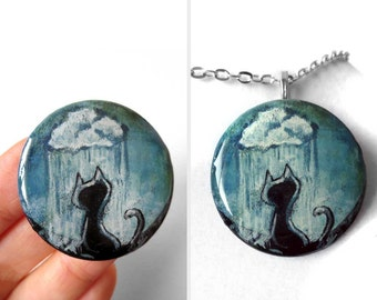SALE: Black Cat Pendant, Rain Cloud Necklace, Raindrops, Pet Painting, Resin Jewelry, Painted Wood Art, Pet Owner Gift for Her, CLEARANCE