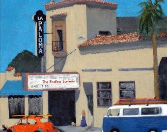 La Paloma Art Print, Beach Art,VW Bus,VW Beetle,Hwy 101 Art,Encinitas,Surf Art