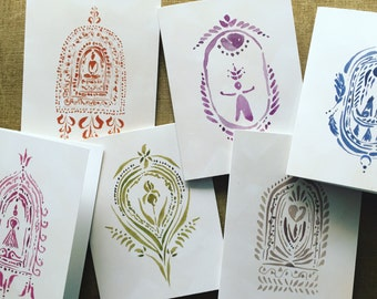 Altar Set of Cards. Greeting Cards. Gift Cards. Friendship Card. Love Card. Feminine Power. Nature Card. Watercolor Painting. Gifts for Her.