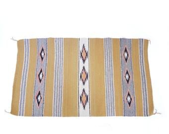 "Vintage Navajo Wool Chinle Rug 46 1/2"" x 27 3/4""   Native American Southwest Handspun Yarn   Boho Chic Southwest Decor    American Indian"