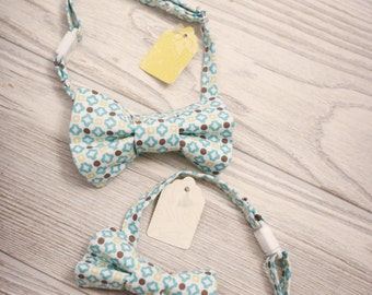 Boys  teal, citron and gray bow tie made for newborn to age 12.