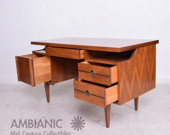 Mid-Century Modern Receiving Desk in Walnut and Cane Back