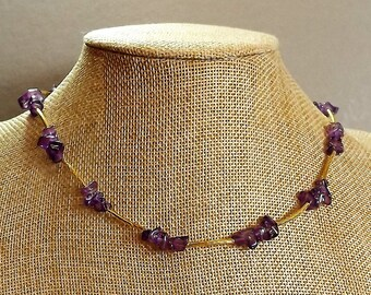 Purple Glass Chip Necklace with Long Gold Tone Spacers
