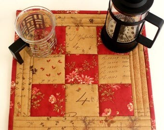 Fabric Trivet, Quilted Hot Pad, Red Brown Insulated Trivet, Pink Roses Text, Floral Casserole Mat, Quiltsy Handmade
