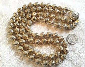 Vintage Coro Necklace, Double Strand, Goldtone Metal Beads, 50s