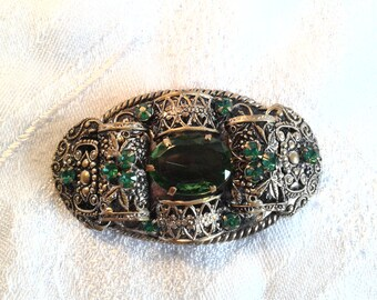 Vintage Edwardian Filigree Brooch with Emerald Green Stones.