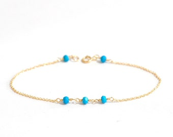 Tiny Turquoise gold bracelet, Turquoise Gold bracelet, Delicate gold bracelet, Skinny gold bracelet, Minimalist, December Birthstone Jewelry