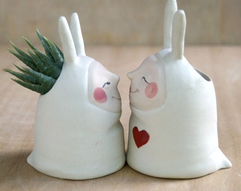 Sculpted ceramic vases, art vases, wheel thrown, hand carved, hand painted, succulent planters, desk candy, kawaii, Love Bunnies