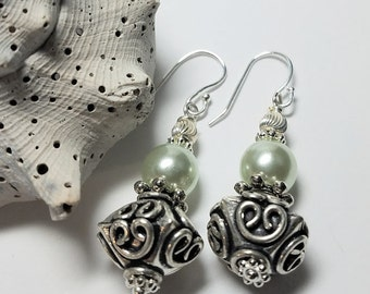 Sweet,Elegant,Bali Inspired Earrings,accented w/Soft,Seafoam Green Shell Pearls,Sterling Silver Filigree Beads(Jewelry by Gerina Design#218)