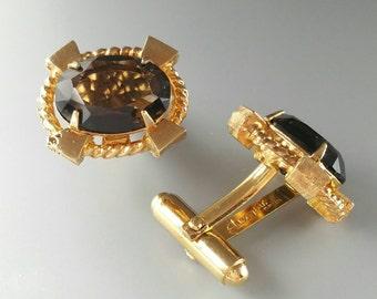 Smoky Quartz Cufflinks Genuine Stone Cuff Links Brown Gemstone Cufflinks Men's Jewelry Accessories