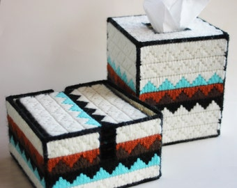 Southwestern tissue box cover/bank and 9 piece coaster set with cork backs Plastic canvas