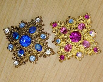 Pair Regency Style Square Rhinestone 1960's Brooch Pins Pink and Blue DIamond Shape Retro Jewelry