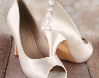Ivory Wedding Shoes, Wedding Shoes, Ivory Bridal, Lace Bridal Shoes, Custom Wedding Shoes, Simple Wedding Shoes, Ivory Shoes, Button Shoes