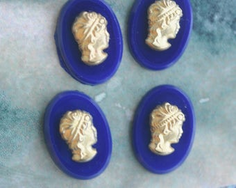 FOUR Vintage glass cameos, Cobalt and Gold, 10mm x 14mm, with lady