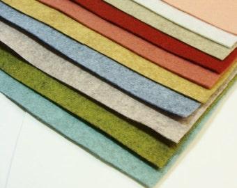 "9""x12"" Lana's 10 Color Pack Merino Wool Felt Blend Fabric Sheets"