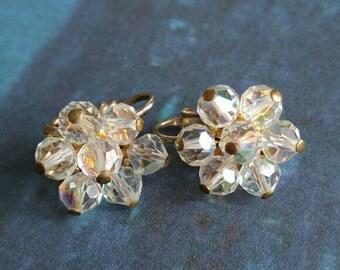 Vintage crystal cluster earrings clip backs aurora borealis beaded