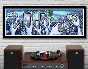 """PRESENCE -  3D Panoramic Concert Poster with red/blue Glasses - 11.75x36"""" - Signed Limited Edition Art Print"""
