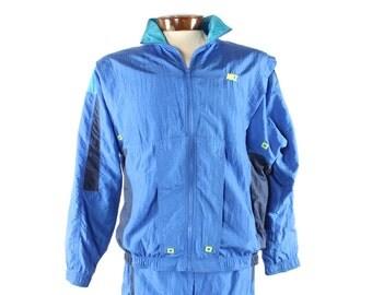 Vintage 80s NIKE Track Suit Wind Breaker Jacket Blue Nylon Pants Athletic Gym Workout Running 1980s Medium M