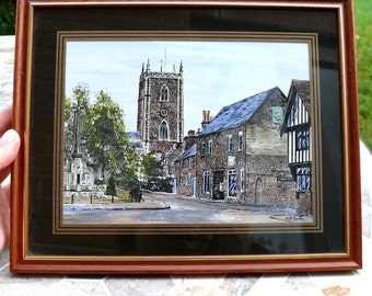 Two Watercolour Pictures of Traditional English Towns by R.F. Carter Great Vintage Wall Decor Items Excellent Conditions Excellent Gift